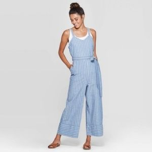 Universal thread Chambray blue striped jumpsuit M